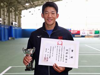 男子シングルス準優勝 羽澤慎治(慶大2年)